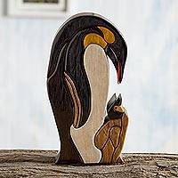 Wood sculpture, 'Mother Penguin' - Penguin Ishpingo Wood Sculpture Carving from Peru