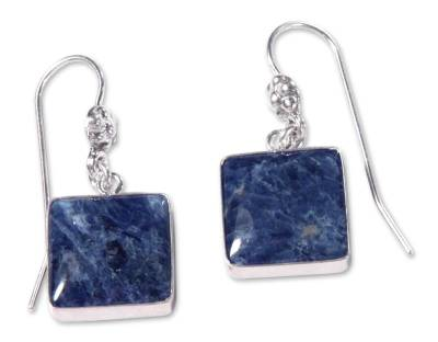 Hand Made Sterling Silver and Sodalite Dangle Earrings