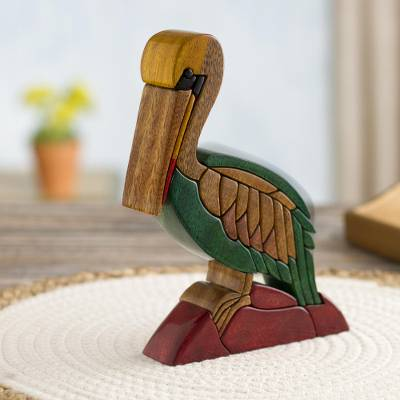 Wood sculpture, 'Peruvian Pelican' - Hand Made Wood Bird Sculpture