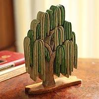 Wood sculpture, 'Weeping Willow' - Andean Handcrafted Ishpingo Wood Sculpture Peru