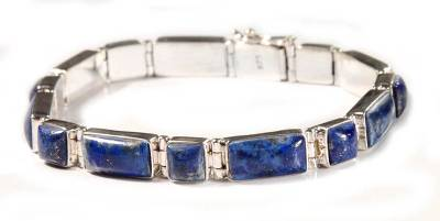 Fair Trade Sterling Silver Wristband Lapis Lazuli Bracelet