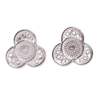 Floral Fine Silver Stud Earrings