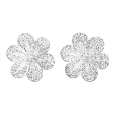Artisan Jewelry Floral Fine Silver Button Earrings from Peru