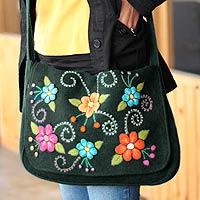Wool flap handbag, 'Teal Garden' - Floral Embroidered Wool Shoulder Bag
