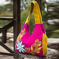 Wool hobo handbag, 'Dawn Blossom' - Wool hobo handbag