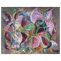 'Bougainvilleas' - Floral Abstract Fine Art Oil Painting