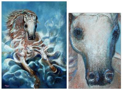 'Horse in Shape of Clouds and Waves' (2011) - Expressionist Oil Painting (2011) from Peru