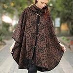 Hand Made Women's Alpaca Wool Blend Ruana Cloak, 'Piura Flora'