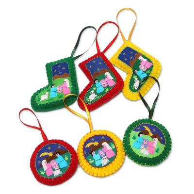 Applique Christmas Ornaments Set of 6 Handmade in Peru
