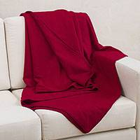 Alpaca blend blanket, 'Cajamarca Carnations' (queen) - Luxurious Soft Alpaca Blend Rich Red Peruvian Blanket