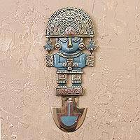 Bronze and copper wall sculpture, 'Lucky Tumi'