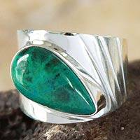 Chrysocolla cocktail ring, 'Huacho Heritage' - Fair Trade Peruvian Sterling Silver and Chrysocolla Ring