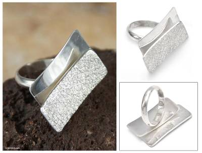 male rings silver lake - Hand Made Modern Fine Silver Cocktail Ring