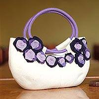 Wool baguette handbag, 'Arequipa Rose' - Handmade Floral Wool Handbag from Peru