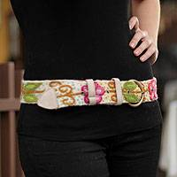 Wool belt, 'Huantla Spring' - Wool belt