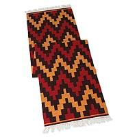 Wool runner, 'Andean Mountains' (2x8) - Hand Crafted Geometric Wool Area Rug (2x8)