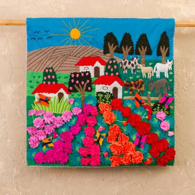 Applique wall hanging, 'Ancash Fields of Roses' - Handmade Floral Cotton Applique Wall Hanging