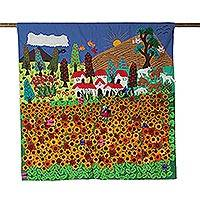 Applique wall hanging, 'Ancash Fields of Sunflowers' - Handmade Peruvian Folk Art Wall Hanging