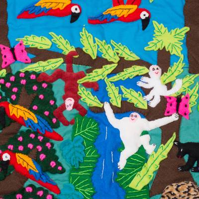 Applique wall hanging, 'Peruvian Amazon' - Handcrafted Applique Folk Art Bird Wall Hanging