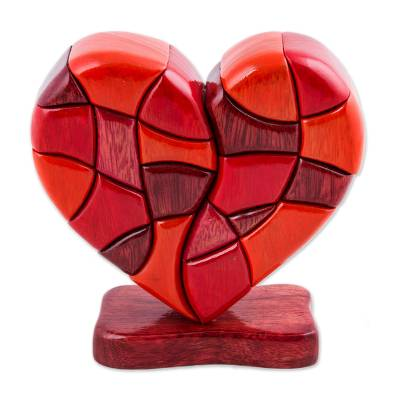 Wood Heart Sculpture Statuette Hand Carved in Peru