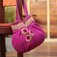 Alpaca blend shoulder bag, 'Blushing Pink' - Floral Embroidered Alpaca Wool Shoulder Bag