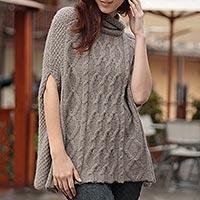 100% alpaca poncho, 'Inca Fusion' - Unique Designer Alpaca Wool Poncho for Women