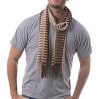 100% alpaca men's scarf, 'Arequipa Adventure'