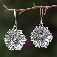 Silver dangle earrings, 'Potato Blossom'