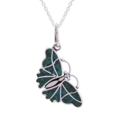 Fair Trade Chrysocolla and Silver Butterfly Pendant Necklace