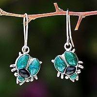 Chrysocolla and obsidian dangle earrings, 'Silver Scarab' - Artisan Crafted Fine Silver Dangle Chrysocolla Earrings