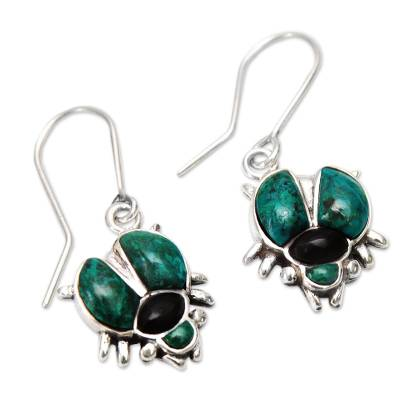 Artisan Crafted Fine Silver Dangle Chrysocolla Earrings