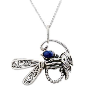 Fine Silver and Sodalite Pendant Necklace from Peru