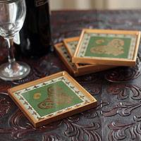 Painted glass coasters, 'Colonial Jade' (set of 4) - Coasters Reverse Painted Glass Set of 4 in Green