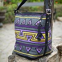 Alpaca with leather accent shoulder bag, 'Inca Chalice' - Handmade Geometric Alpaca Shoulder Bag
