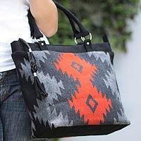 Alpaca blend handbag, 'Cuzco Stars' - Women's Geometric Alpaca Wool Handbag