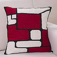 Alpaca cushion cover, 'Crimson Riddle' - Fair Trade Modern Alpaca Wool Cushion Cover