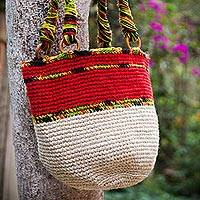 Jute shoulder bag, 'Lima Geranium' - Handcrafted Jute Shoulder Bag from Peru