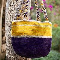 Jute shoulder bag, 'Piura Sunshine' - Jute shoulder bag