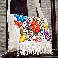 Wool shoulder bag, 'Flowers in Snow' - Artisan Crafted Floral Wool Embroidered Handbag