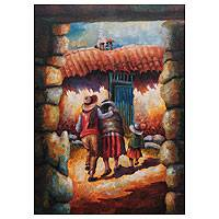 'Home Front' - Original Painting Andean Scene Signed Peru