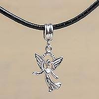 Silver and leather pendant necklace, 'Guardian Angel' - Silver and leather pendant necklace