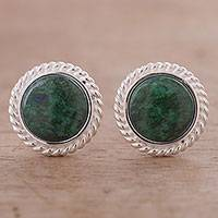 Chrysocolla button earrings, 'Amazon' - Hand Made Chrysocolla Button Earrings