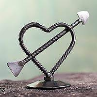 Auto part sculpture, 'Heart in Love' - Recycled Metal Cupid's Arrow Sculpture