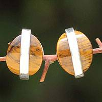 Tiger's eye button earrings, 'Sublime' - Modern Tiger's Eye Button Earrings