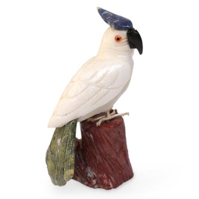 Gemstone Bird Sculpture Calcite Hand Carved in Peru