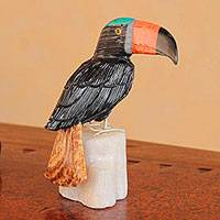 Onyx and jasper sculpture, 'Colorful Toucan' - Gemstone Bird Sculpture from Peru