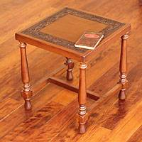 Mohena wood and leather accent table, 'Inca Greatness' - Artisan Crafted Traditional Leather Table