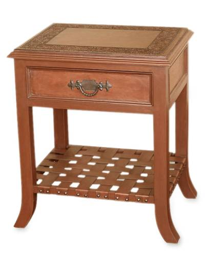Mohena wood and leather accent table, 'Hacienda Home' - Mohena wood and leather accent table