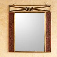 Mohena wood and leather mirror, 'Colonial Love Knot' - Mohena wood and leather mirror