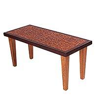 Cedar and leather coffee table, 'Colonial Marigold' - Floral Leather Wood Coffee Table Furniture